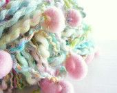 Storybook Fibers Rapunzel's Twist Turquoise with Pink Crescents Hand Spun Art Yarn 32 yds