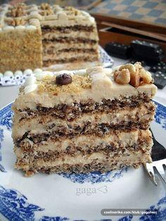 Gaga u kujni: Moka torta sa orasima i rumom Torte Recepti, Kolaci I Torte, Baking Recipes, Cookie Recipes, Torta Recipe, Praline Recipe, Walnut Recipes, Torte Cake, Sweet Cakes