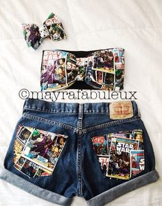 Painted Jeans, Painted Clothes, Trendy Outfits, Cute Outfits, Fashion Outfits, Custom Clothes, Diy Clothes, Jean Diy, Bow Bandeau