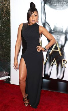 Taraji P. Hensen from 2017 NAACP Image Awards: Red Carpet Arrivals  Cookie Lyon herself makes one fierce entrance in a sleek black gown with a thigh-high split.