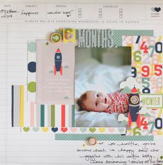 Project Ideas for American Crafts - Shimelle Collection - True Stories - 12 x 12 Double Sided Paper - Mocha Baby Scrapbook Pages, Scrapbook Sketches, Scrapbook Page Layouts, Scrapbook Paper Crafts, Scrapbook Cards, Scrapbooking Ideas, Photo Layouts, Paper Crafting, Baby Mini Album