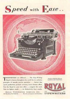 Royal . Las máquinas de escribir Royal resultaron ser increíblemente populares y, con el fin de cumplir con la demanda, la compañía pronto se trasladaría a un local más grande en Hartford, Connecticut. Aquí, se seguirían produciendo sus máquinas de escribir hasta bien entrada la segunda mitad del siglo XX. (1917)