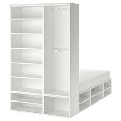 PLATSA white, Fonnes, Bed with 4 drawers, Depth storage space: 40 cm Width: cm - IKEA Frame Shelf, Bed Frame With Storage, Bed Storage, Storage Drawers, Storage Spaces, Appartement Design Studio, Recycled Door, No Closet Solutions, Small Spaces