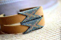 """Браслеты ручной работы. Ярмарка Мастеров - ручная работа. Купить Горчичный кожаный браслет """"Дикий В20"""". Авторская работа. Handmade. Bracelet Peyote, Cuff Bracelets, Leather Jewelry, Beaded Jewelry, Beaded Crafts, Peyote Stitch, Brick Stitch, Bead Crochet, Bead Weaving"""