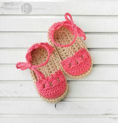 Crochet Baby Espadrille Sandals - 0-6 months - Bright Coral via Etsy
