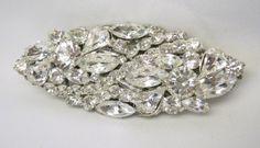 Bridal Crystal Rhinestone BroochHandmade Oval by FlowerdanceBridal, $35.00