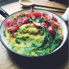 Slow Club Cookery: Garlicky Radish Greens Polenta with Crispy Shallots and Radishes.