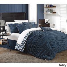 Chic Home Elisha Pleated Ruched Reversible 3-piece Duvet Cover Set $60