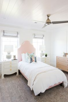 Dani's room-roman blinds-simple-white w/grey band. Bedside tables & lamps?