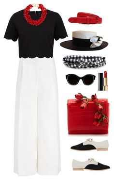 """Black white red, as usual"" by soofiia ❤ liked on Polyvore featuring Schutz, Joseph, Ted Baker, Nancy Gonzalez, Aéropostale, Lacoste, Sonia Rykiel, Chanel and Kenneth Jay Lane"