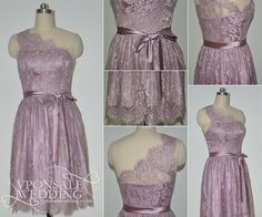 Dusty Rose One Shoulder Lace Bridesmaid Dress