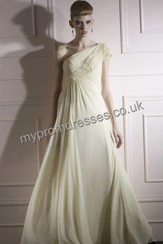 Floor Length One-shoulder Yellow Satin A-line Evening Dress fes-0014