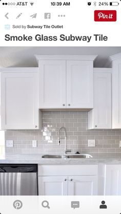 White Subway Tile With Grey Inlay For Kitchen