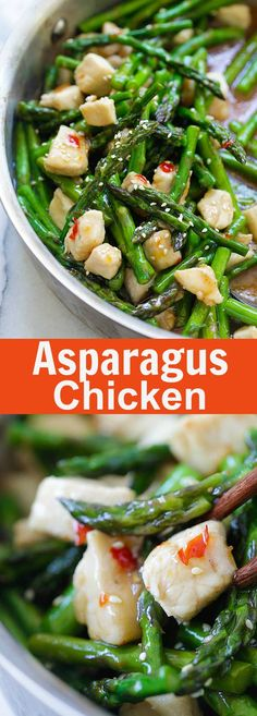Chicken and Asparagus - healthy asparagus chicken stir-fry with a savory brown…