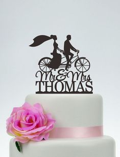 Mr And Mrs Cake Topper With Last NameBride And Groom On Bike