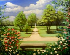 Park Bench Original Oil Painting not a print by MARVINSTUDIO, $25.00