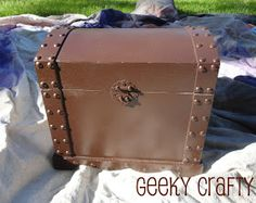 Geeky Crafty: Skylanders Party Planning - Part 5, Mod-Podge Woes, Faux Leather Treasure Chest, Neon Balls, and a Portal Punch Possibility
