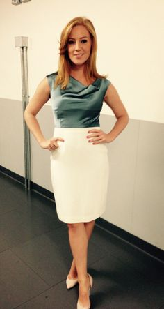 Sarah - Jane Mee, news reader and TV presenter for SKY, wore my two tone Hayley dress on SKY SPORTS!