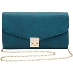 M&Co Twist Lock Clutch Bag ($8.87) ❤ liked on Polyvore featuring bags, handbags, clutches, purses, bolsa, teal, chain handle handbags, chain strap handbag, m&co and blue purse
