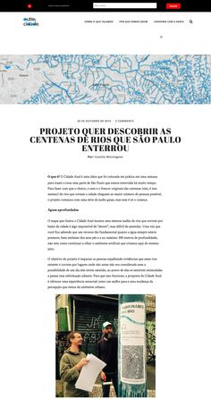 Project wants to discover rivers that São Paulo buried Rio, Rivers, City, Log Projects, Blue, River, Lakes