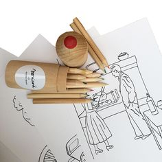 Colouring Set - illustration design and pencils - Monicord by Audrey Bakx Designs To Draw, Colouring, Wines, Objects, Pencil, Create, Drawings, Illustration, Color