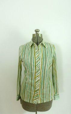 Vera Neumann Blouse Green Striped Vintage 1970s by rileybella123, $20.00