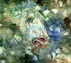 "Kelpie by ~DrunkenUnicorn. The kelpie is a supernatural water horse from Celtic folklore that is believed to haunt the rivers and lochs of Scotland and Ireland; the name may be from Scottish Gaelic cailpeach or colpach ""heifer, colt"""
