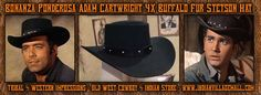 Bonanza Ponderosa Adam Cartwright 4X Buffalo Fur Stetson Hat from Tribal And Western Impressions -Old West Cowboy And Indian Clothing Store -  www.indianvillagemall.com