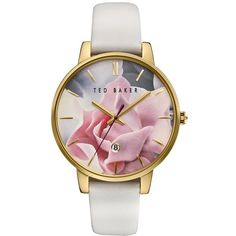 Women's Ted Baker London Leather Strap Watch, 40Mm (135 SGD) ❤ liked on Polyvore featuring jewelry, watches, floral watches, leather strap watches, dial watches, multi color jewelry and tri color jewelry
