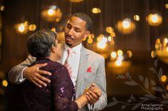 Anna and Spencer Photography Atlanta Documentary Wedding Photographers. Wedding reception: Mother-Son dance at Briza Restaurant in Midtown Atlanta.