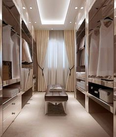 Home Inspiration: 32 Beautiful and Luxurious Walk-In Closet Designs Closet Walk-in, Dressing Room Closet, Dressing Room Design, Closet Bedroom, Dressing Rooms, Closet Ideas, Dressing Area, Master Closet, Closet Space