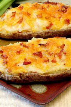 Course(s): Side; Ingredients: bacon, black pepper, margarine, milk, potato, salt, sharp cheddar cheese, sour cream