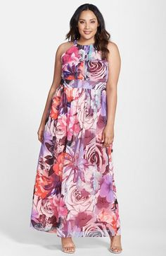 Eliza J Print Sleeveless Chiffon Maxi Dress (Plus Size) available at #Nordstrom