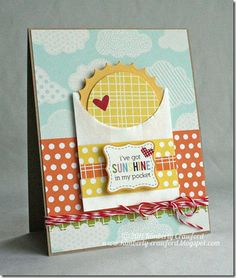 Adorable sunshine card! Great technique for the rays using a scallop scissor's reverse edge.
