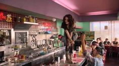 Cher Lloyd - Want U Back (US Version)  this restaurant looks just like the one 1D did that surprise performance in..hmm :)