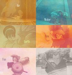 Air, Water, Earth, Fire, Fan, & Sword!