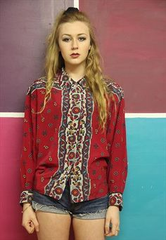Vintage 90's geometric grunge blouse from Tola Vintage