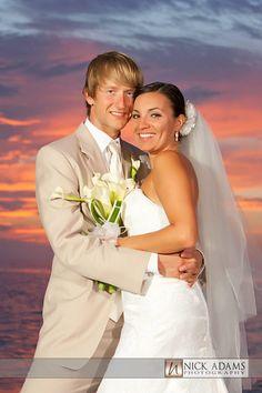 "Tween Waters Inn Island Resort, Florida Beach Wedding ""bride and groom amazing sunset"""