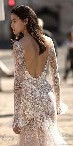 liz martinez 2018 lisbon long sleeves deep v neck full embellishment high slit skirt sexy romantic soft a  line wedding dress open low back sweep train (8) bv -- Liz Martinez Wedding Dresses 2018