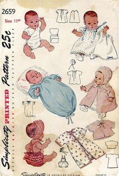 Vintage Doll Clothes Pattern 2659 for 11 in Dy Dee doll by Effanbee 30s ORIGINAL