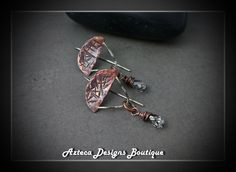 Crystal Rain~ Copper Fused Silver Swarovski Crystal Artisan Earrings by AztecaDesignsBoutique, $46.00 USD
