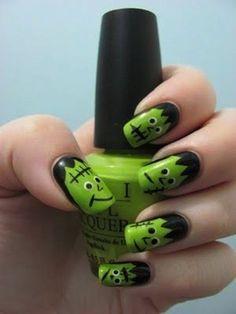 Frankenstein nails! Green and black, perfect for halloween #nails #nailart #nailpolish
