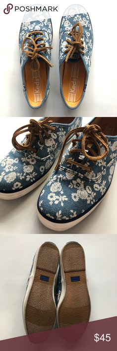 baf37e1cf9a2 KEDS blue canvas and white floral size 6.5 So so soooo pretty. the blue  canvas