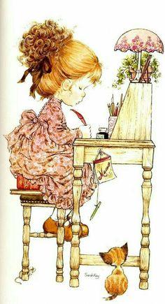 Holly Hobbie - Sarah Kay - - Digital Collage Sheet - Printable - For unlimited number of prints Sarah Key, Holly Hobbie, Sara Key Imagenes, Vintage Greeting Cards, Illustrations, Cute Illustration, Vintage Pictures, Cute Drawings, Sketches