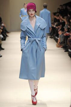 Baby Blue with a touch of red throughout Cacharel Fall 2012