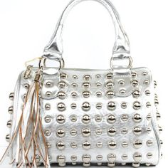 Amazon.com: New Arrival Fashion Unique Round Rivet Studded Fringe Tote Satchel Boston Bag in Silver: Clothing $47.99