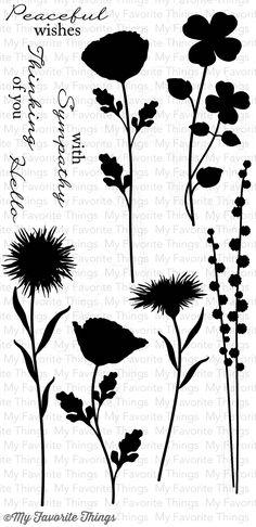 Grand peaceful wildflowers stamp set, die and stencil.