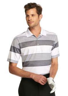 Pro Tour  Short Sleeve Printed Stripe Heathered Polo Shirt