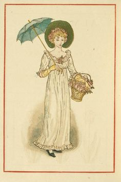Girl with umbrella - Kate Greenaway's Almanack for 1884