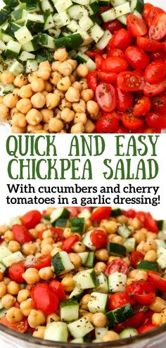 Quick and easy to make in just minutes! This chickpea salad with cucumbers and tomatoes in a garlic vinaigrette dressing is a hit for summer picnics and potlucks! Plus it's vegan, gluten-free, and soy-free so everyone can enjoy it! thehiddenveggies.com Vegan Picnic, Vegan Potluck, Picnic Foods, Healthy Salad Recipes, Healthy Food, Vegan Recipes, Healthy Eating, Easy Summer Salads, Summer Recipes